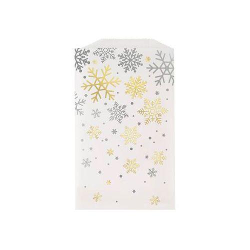 Torebka prezentowa ze złotymi śnieżynkami - 1 szt. marki Unique