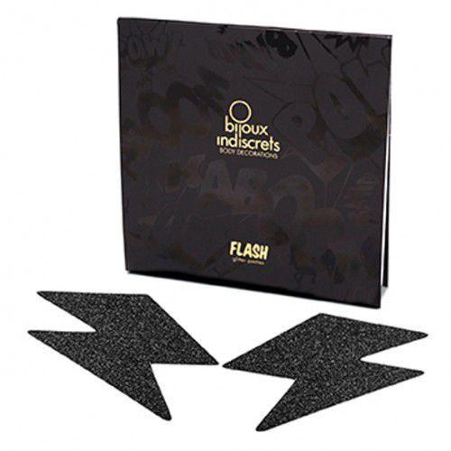 Naklejki na sutki - Bijoux Indiscrets Flash Bolt Black Czarna Błyskawica z kategorii Nakładki na sutki