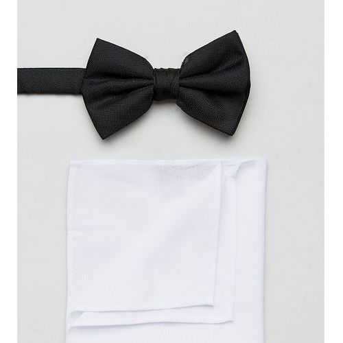 black bow tie and pocket square in white - black marki New look