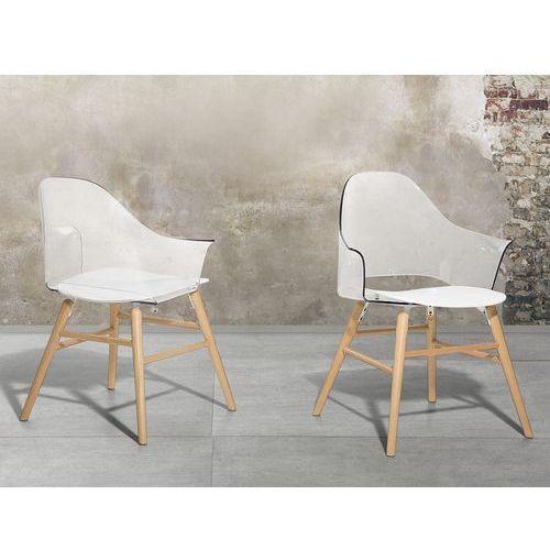 Krzesło przeźroczysto-białe - Krzesło do jadalni, do salonu - krzesło kubełkowe - BOSTON, kolor biały