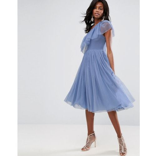ASOS Tulle One Shoulder Midi Dress - Blue