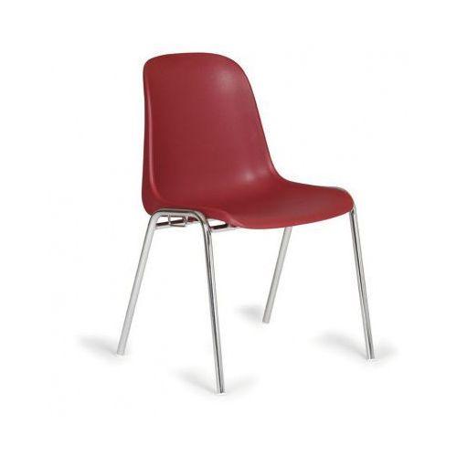 Plastikowe krzesło kuchenne ELENA, czerwony - chromowane nogi, kolor czerwony