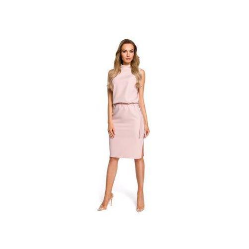 Sukienki krótkie m423 sukienka z rozpięciem na plecach, Moe, 36-44