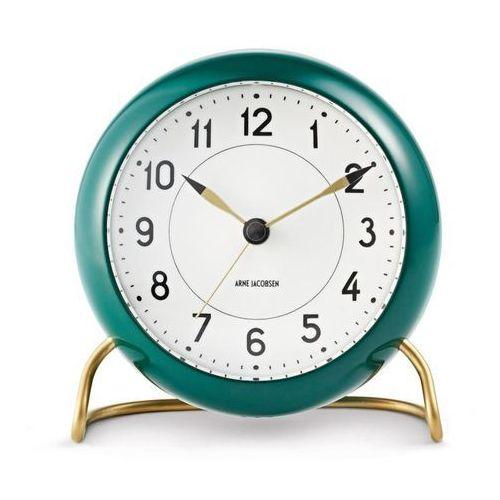 Zegar stołowy Arne Jacobsen Station zielono-biały, kolor wielokolorowy