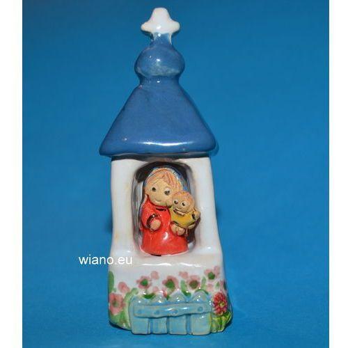 Twórczyni ludowa Rzeźba ceramiczna - kapliczka przydrożna (mini, wys. 8 cm), maryja z dzieciątkiem (1)