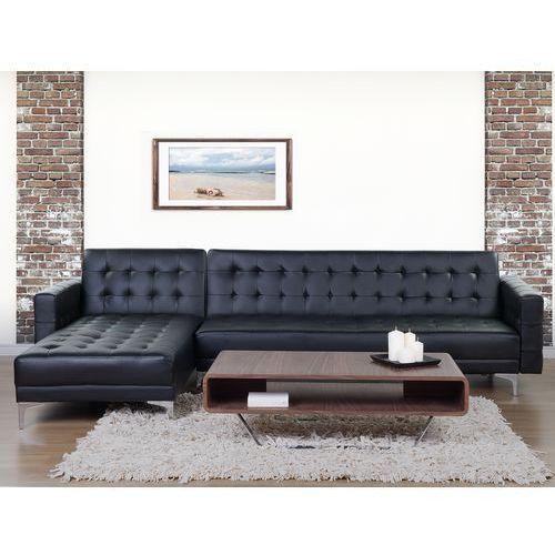 Sofa czarna - kanapa - skórzana - rozkładana - narożnik - ABERDEEN