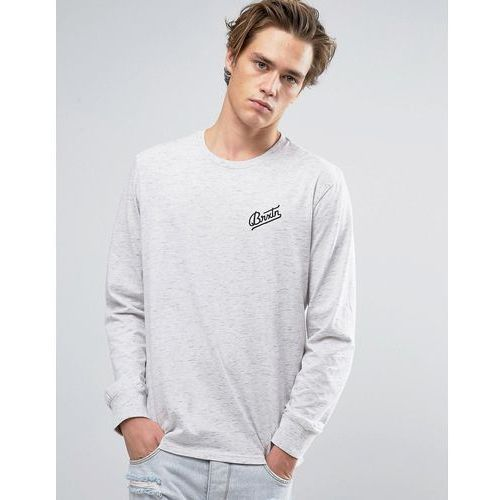 reggie long sleeve t-shirt with small logo - grey marki Brixton