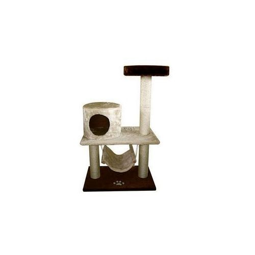 YARRO Drapak Comfort z budką, półką i hamakiem, podstawa 60x40cm, wys.100cm, beżowo-brązowy   Darmowa dostawa (5901436111351)