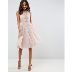 ASOS Lace Tulle Cap Sleeve Midi Dress - Pink, kolor różowy