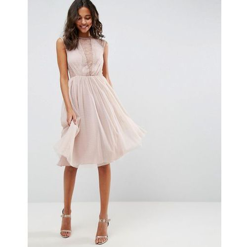 OKAZJA - lace tulle cap sleeve midi dress - pink marki Asos