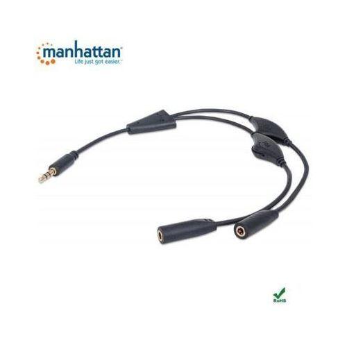 Manhattan Kabel - adapter audio jack 3,5mm na 2x jack 3,5mm m/f 30cm, czarny (0766623393980)