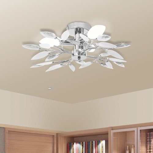 Vidaxl lampa sufitowa, plafon, białe i bezbarwne listki 3 żarówki e14 (8718475870104)