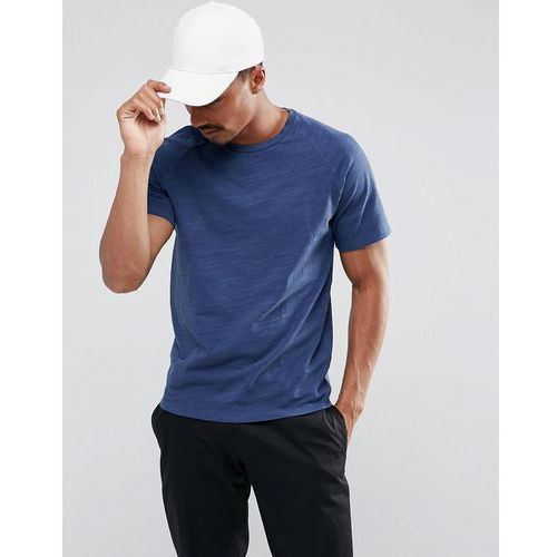 Selected homme  t-shirt with raglan sleeve in slub cotton - navy