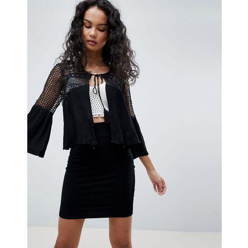 QED London Crochet Jacket With Tassel - Black, kolor Black