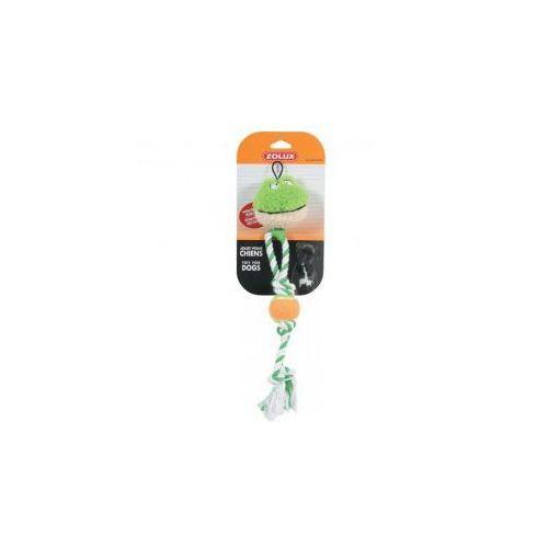 ZOLUX Zabawka pluszowa dla psa piłka + sznur 44cm kolor zielony, z dźwiękiem