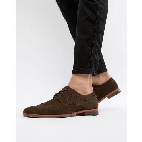 New Look faux suede brogue shoes in dark brown - Brown