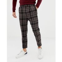 Asos design tapered trouser in wool mix check with turn up - black
