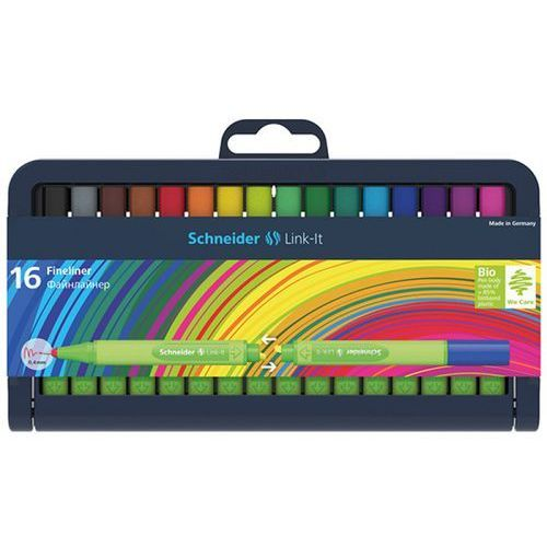 Cienkopis link-it, 0,4mm, stojak - podstawka, 16szt. mix kolorów marki Schneider
