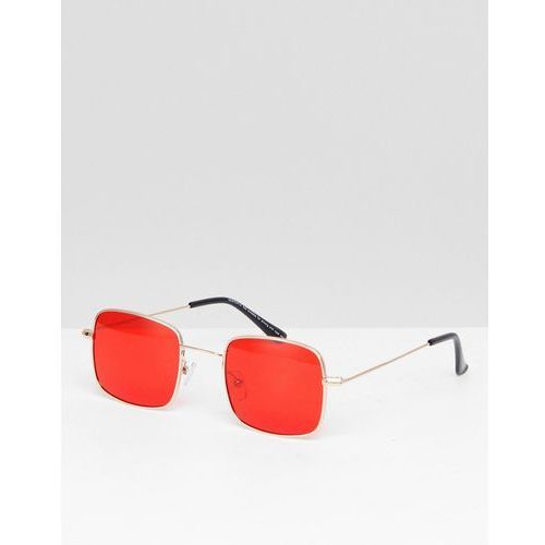 ASOS DESIGN Metal Square Fashion Sunglasses In Gold With Red Coloured Lens - Gold