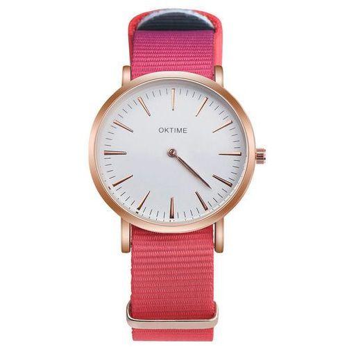 Zegarek damski męski pasek nylon koral - 1 marki Oktime