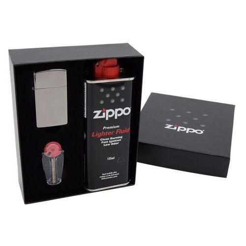 Zippo Zapalniczka  z20492 black ice slim pudełko prezentowe z akcesoriami grawer