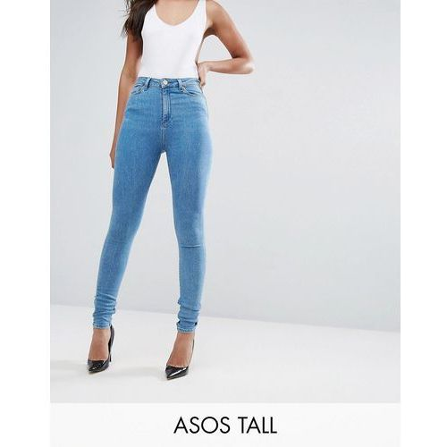 ASOS TALL RIDLEY High Waist Skinny Jeans in Harry LightWash Blue - Blue, z
