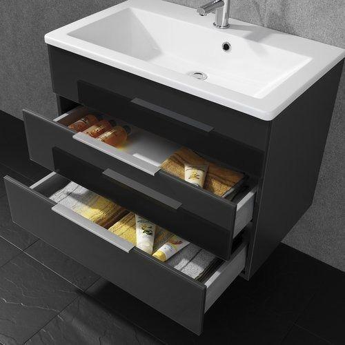 Szafka łazienkowa kara antracyt 2 szuflady 80 cm marki Fackelmann