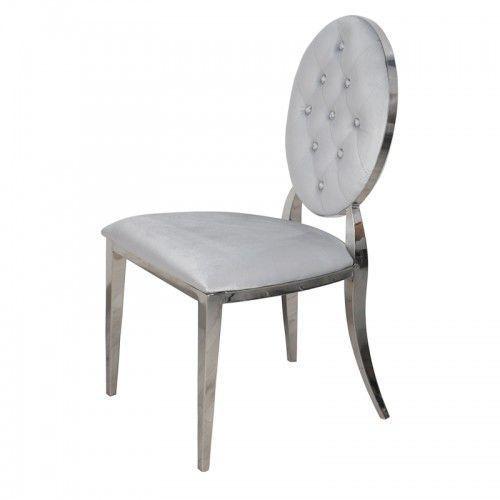 Krzesło Ludwik glamour Silver - nowoczesne krzesła pikowane kryształkami (5908273394831)