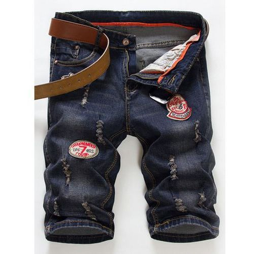 Fashion Straight Leg Embroidered Patch and Hole Design Zipper Fly Denim Shorts For Men