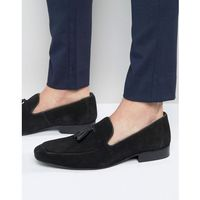 Red tape tassel loafers in black suede - black