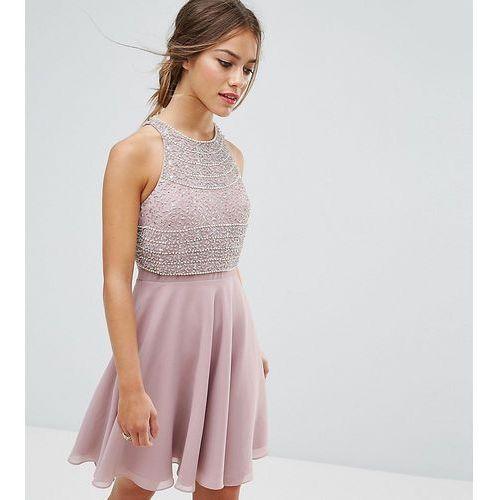 ASOS PETITE Crop Top Embellished Skater Dress - Pink, kolor różowy
