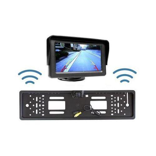 """Bezprzewodowa Kamera Parkowania (dzień-noc) w Ramce Tablicy Rejestracyjnej + Monitor LCD 4,3""""."""