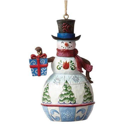 Jim shore Bałwanek zawieszka mini snowman with gift 4050759