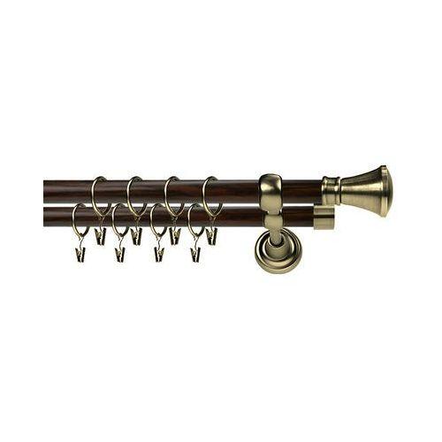 Karnisz Metalowy Prestige podwójny 25/19mm Liberty Antyk mosiądz - wenge