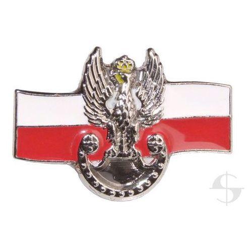 Pins - orzełek wojsk lądowych na tle flagi biało-czerwonej marki Sortmund
