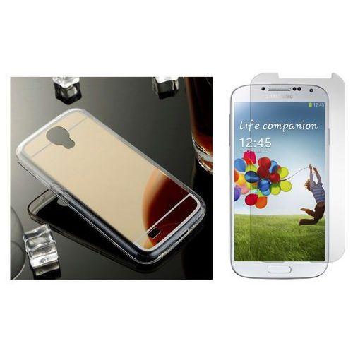 Zestaw | slim mirror case złoty + szkło ochronne perfect glass | etui dla samsung galaxy s4 marki Slim mirror / perfect glass