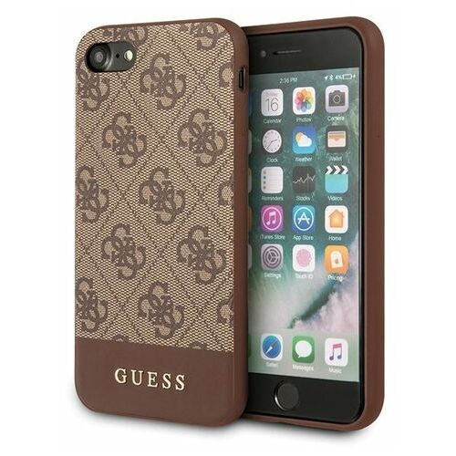 Guess GUHCI8G4GLBR iPhone 7/8/SE 2020 brązowy/brown hard case 4G Stripe Collection, kolor brązowy