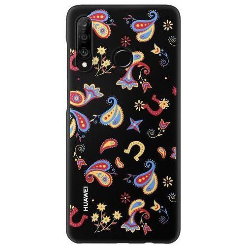 Huawei P30 Lite Colorful-TPU Case - Flower Black, kolor czarny