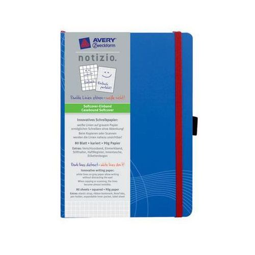 Notatnik NOTIZO A5 w kratkę w plastikowej okładce, 80 kartek, niebieski, ZW216