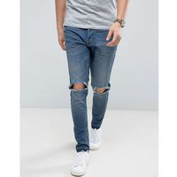 Brave Soul Skinny Fit Raw Hem Distressed Jeans - Blue, jeansy