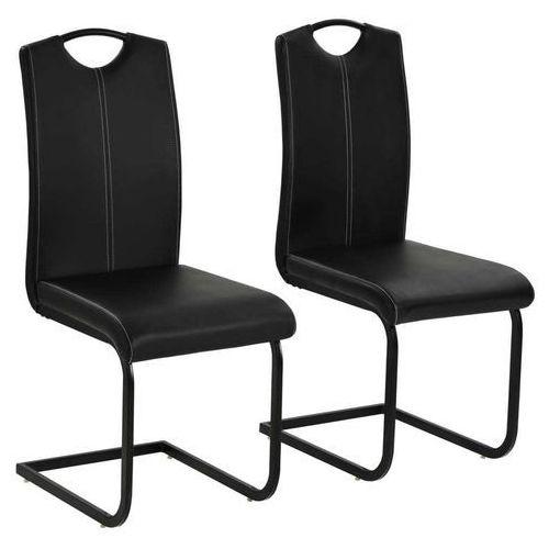 Krzesła do jadalni, sztuczna skóra, 2 szt, 43x55x100 cm, czarne, kolor czarny