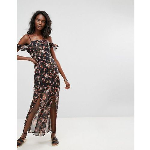 Boohoo Cold Shoulder Floral Maxi Dress - Black, kolor czarny