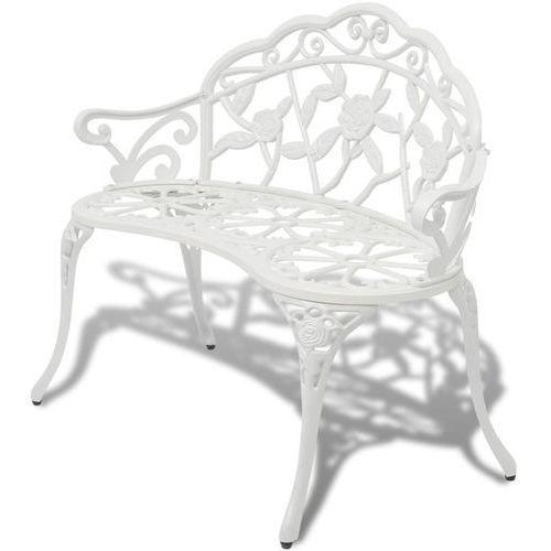 vidaXL Ławka ogrodowa biała ze stopu aluminium (8718475973089)