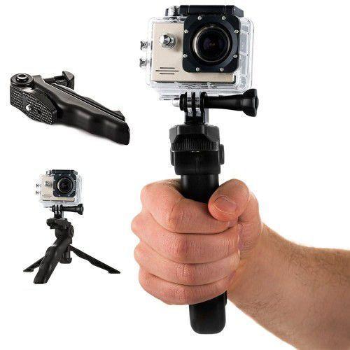 Hurtel Uchwyt z mini statywem do kamer sportowych gopro sjcam czarny (7426757224941)