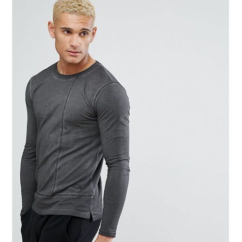 Only & sons long line long sleeve t-shirt with faux layer detail - black