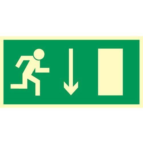 Znak kierunek ewakuacji do wyjścia strz. w dół marki Techem