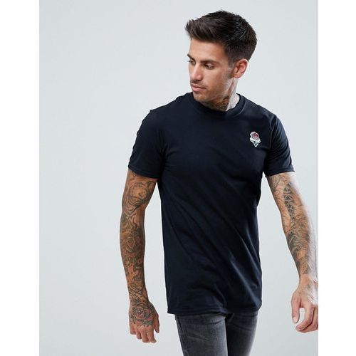 boohooMAN T-Shirt With Eternity Rose Embroidery In Black - Black, 1 rozmiar
