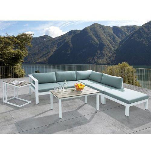 Meble ogrodowe białe - tarasowe - stół + sofa + podnóżek - messina marki Beliani