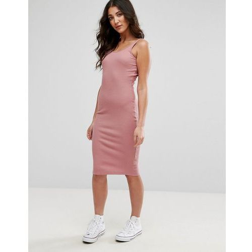Brave Soul Sleeveless Rib Midi Dress - Pink