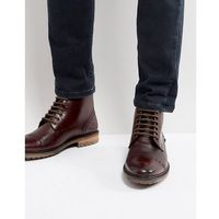 milled boots in burgundy leather - red, Silver street